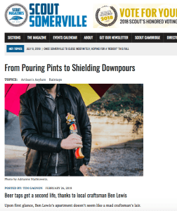 Somerville Scout feature on Ben Lewis and custom beer tap umbrellas