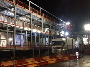 RFS working through the night at Blackburn A & E to install metal deck for a new ACM extension