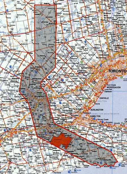 Haldimand Tract Map. The grey area with red border is the land granted by the Haldimand Proclamation, 950,000 acres granted on October 25, 1784. The solid red area is the current Six Nations reserve, 46,500 acres or 4.9% of the original. (Image Source: turtleisland.org)