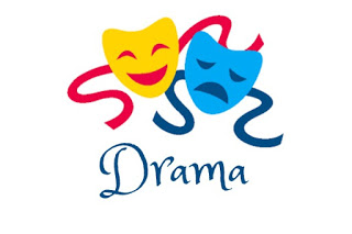 drama, an image of two dramatic masks in yellow and blue