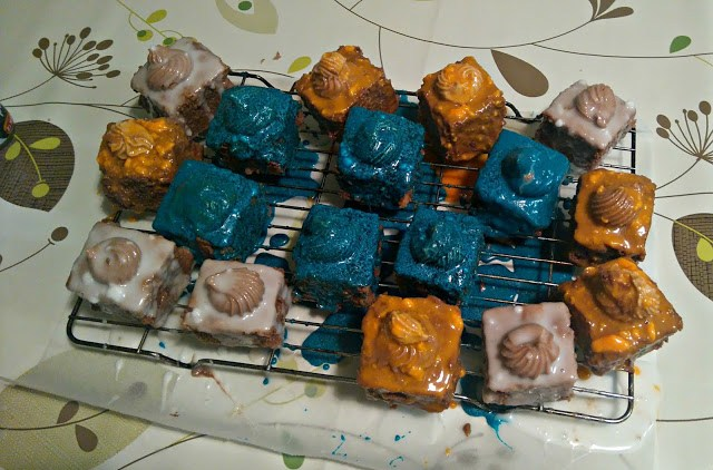 fondant fancies with icing dripping off