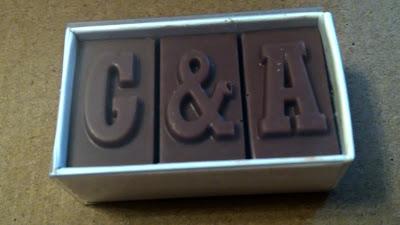 G&A chocolate wedding favour