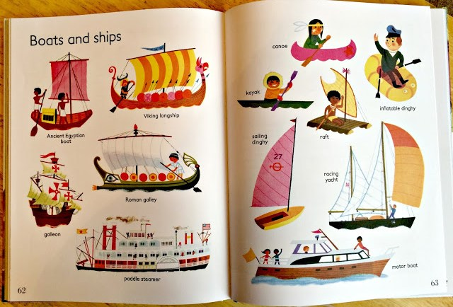 pages from the book showing different kinds of boats.