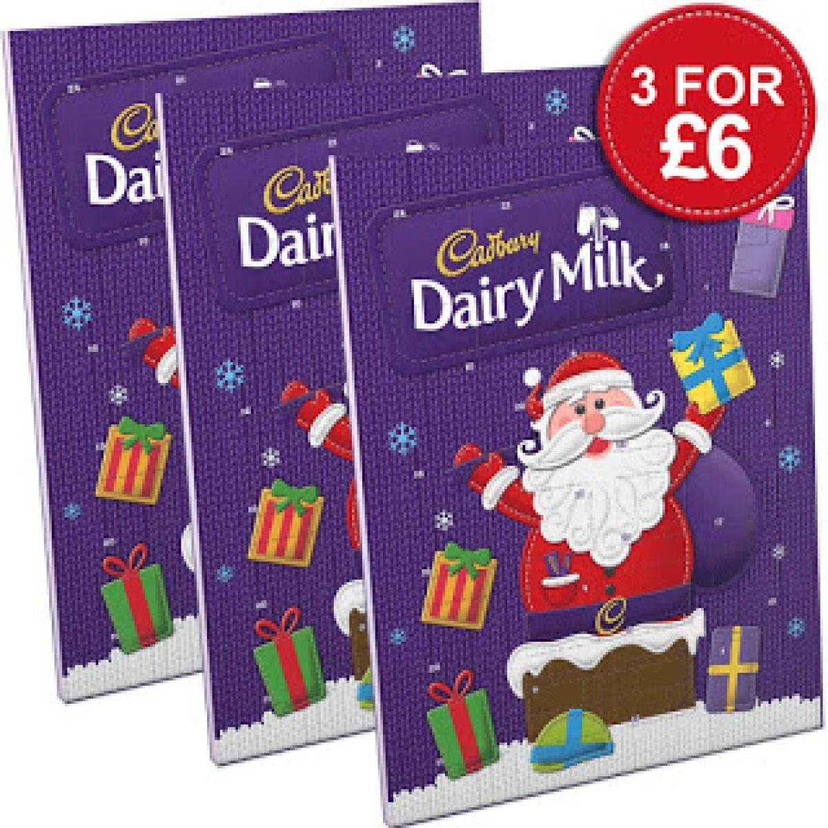 3 cadbury chocolate advent calendars