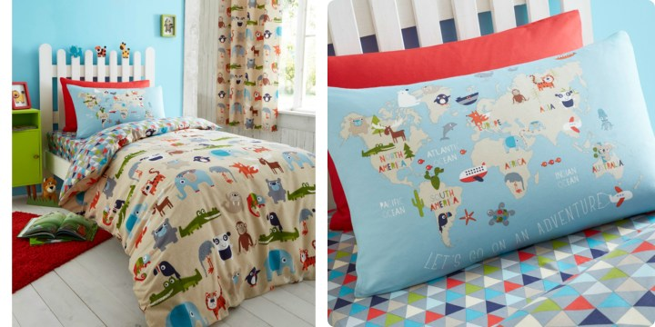 Lovely Animal kingdom bedset and close up of the pillow with a map on