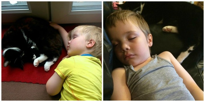 two photos of my little boy fast asleep with a blacck and white cat.