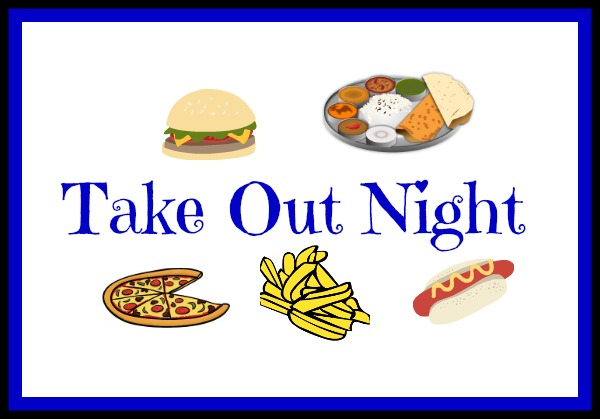 take out night, a cartoon selection of take out food such as a burger, chips, curry, pizza and a hot dog
