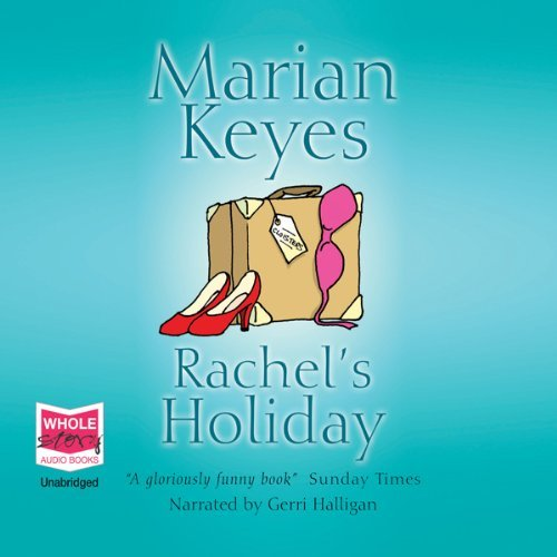 cover art for book, a blue background with an illustration of a suitcase with pink bra and pair of red shoes.