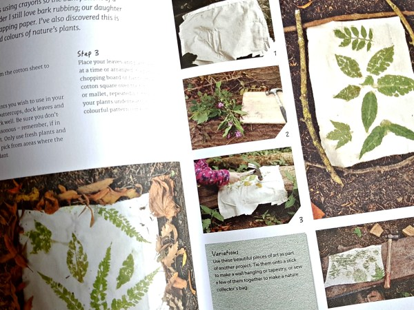 pages from the book showing how to make leaf print pictures