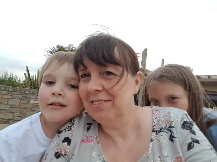 a selfie photo with me in the middle, the Little Man to my left and Boo hiding behind my shoulder.