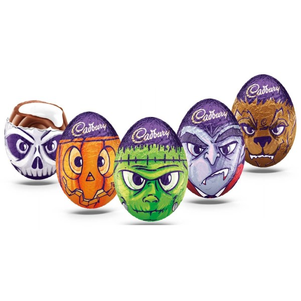 Some Cadbury chocolate eggs with ghoulish wrappers for halloween
