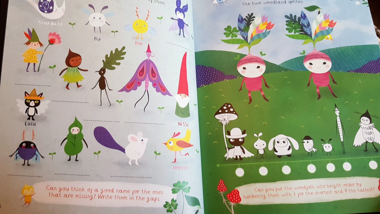 Pages from the book showing the woodland folk suck as elves and bugs