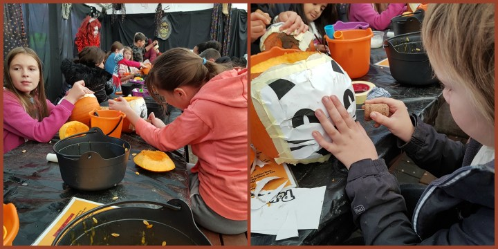 A collage of two photos of children busy carving pumpkins
