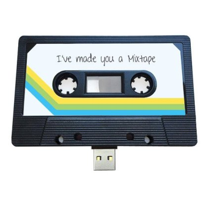 A cassette mix tape with a USB stick from etsy