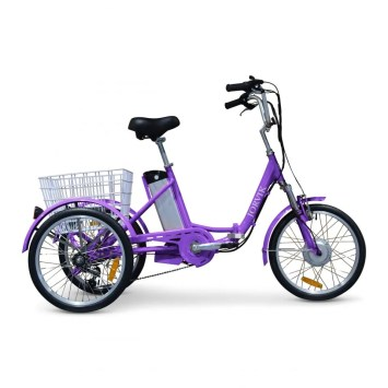 A purple tricycle with a basket on the back.