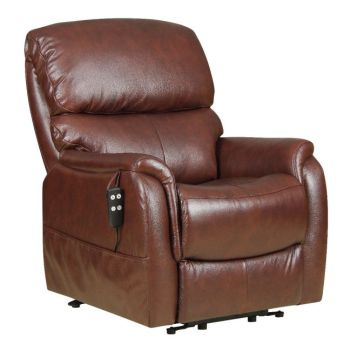 a brown leather riser and electric reclining chair with remote control as suggested by my occupational health therapist