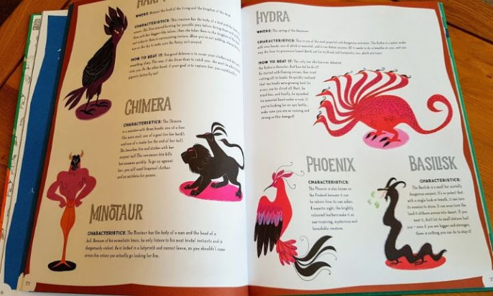 Pages from the book showing monsters and their descriptions