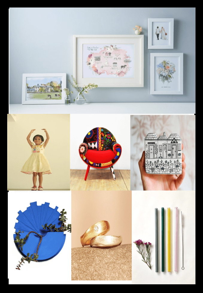 A selection of items that have been selected for the Etsy awards, personalised pictures at the top, in the middle, a girl with a handmade frock, a smiley colourful armchair, a miniature painting of three houses, on the bottom a swall decor with plants, a wedding and engagement ring and some glass straws.
