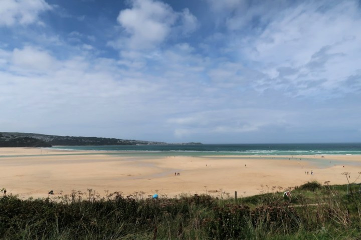 a blue sky, the sea and a beach, lined by grass at the front of the photograph