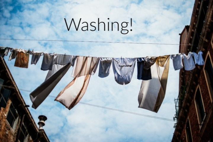 a line of washing blowing in the wind