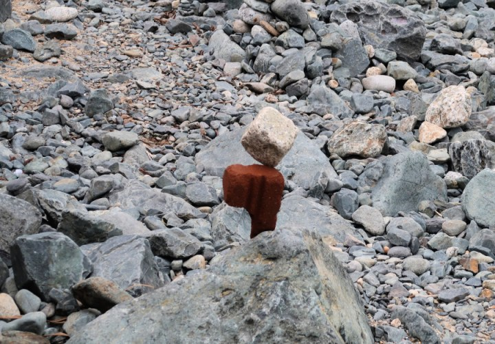 stones balancing on the beach