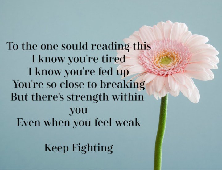 blue background with a pink flower and the words, to the one soul reading this, I know you're tired, I know you're fed up, you're so close to breaking. But there's strength within you even when you feel weak. Keep fighting