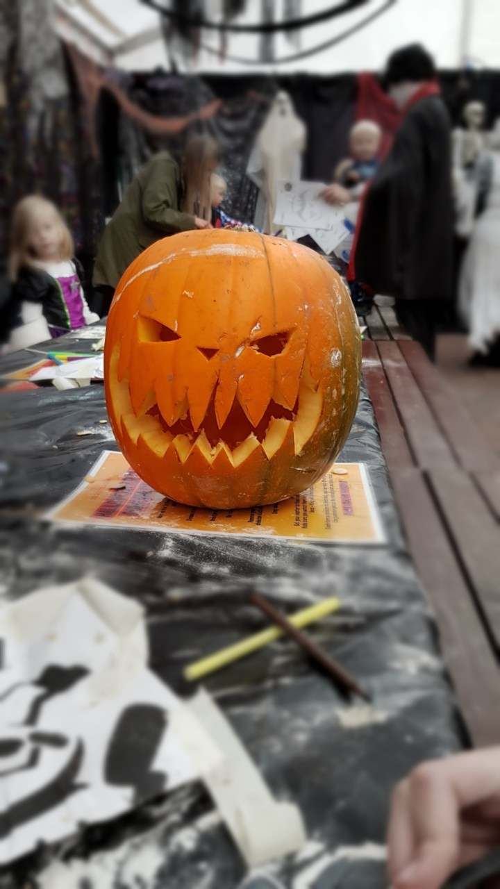A scary pumpkin carving.