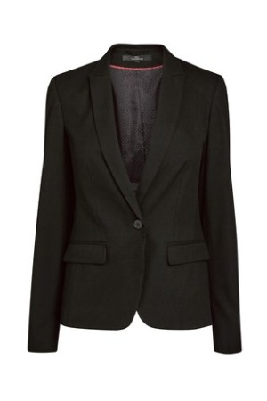 A smart, single buttoned black ladies jacket
