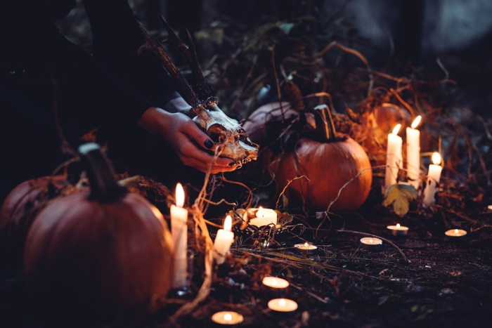 pumpkins and candles and mysterious things going on at halloween