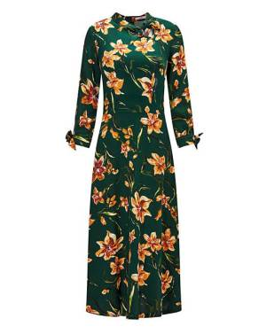midi length green floral patterned dress from Joe Brown, perfect for Autumn fashion