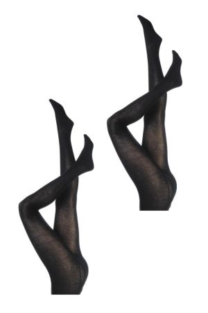 Two pairs of tights modelled on upside down legs, both pairs of tights are black