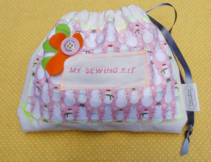 sewing bag with contents for children