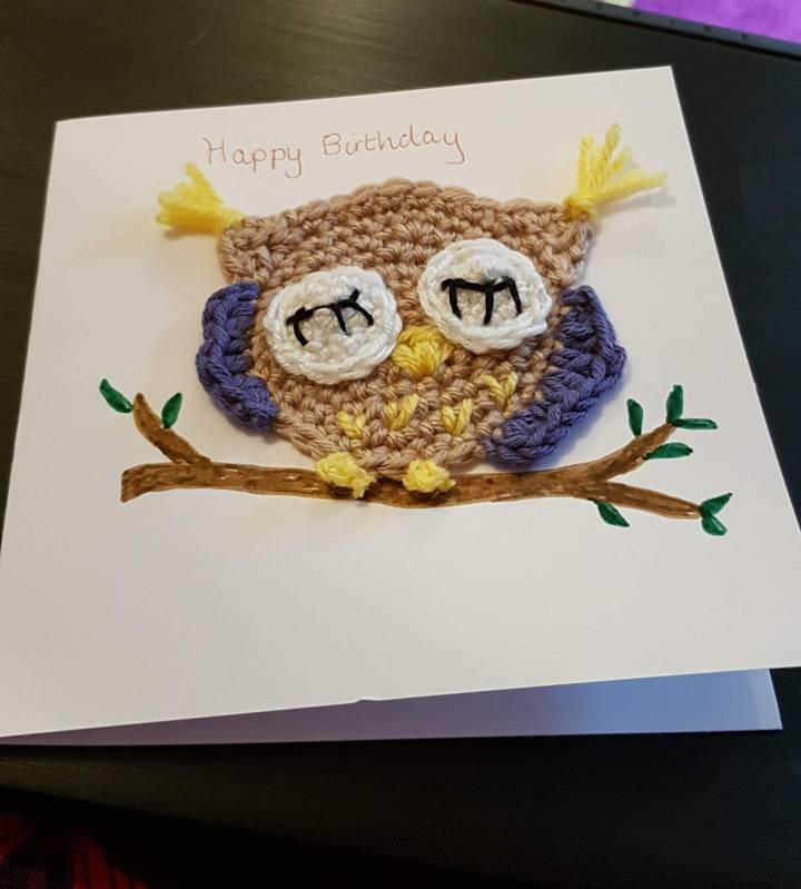 owl crochet card