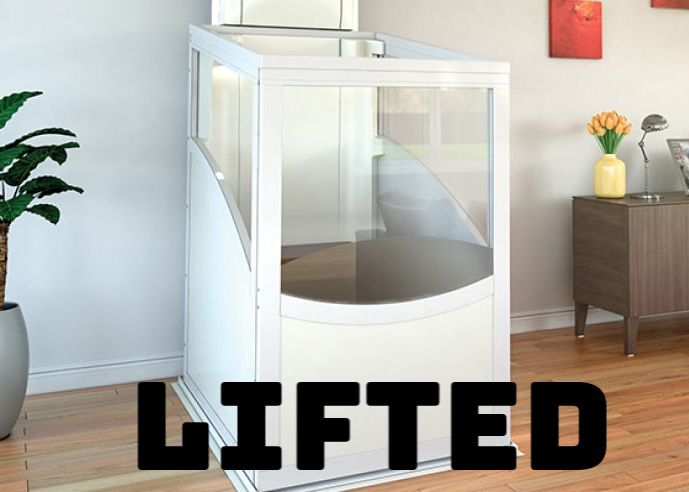 Lifted. A photograph of a lift in a home with the word Lifted in bold