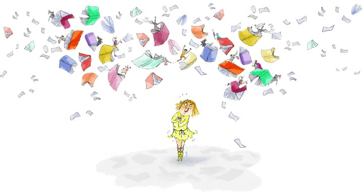 sooper books get kids reading. A young girl standing beneath a large amount of flying books and papers