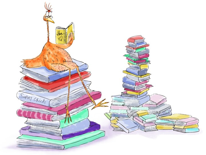 KFC sooper books - a six foot chicken sitting on top of a huge pile of books with another huge pile of books next to her