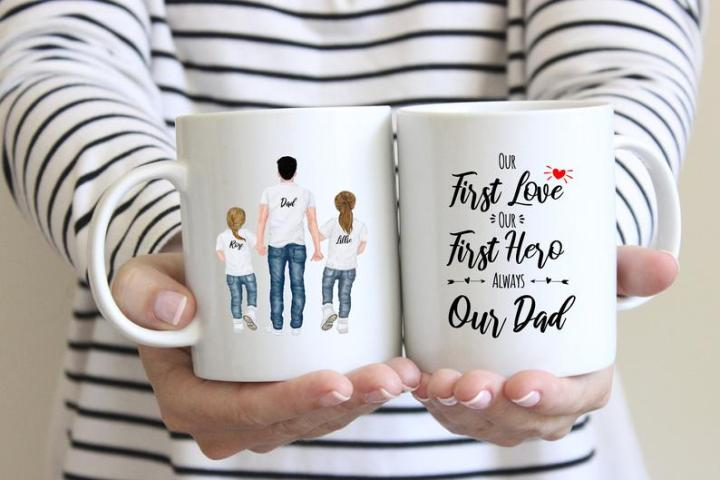 personalised Dad mug with picture of Dad with daughters on one side and words on the other