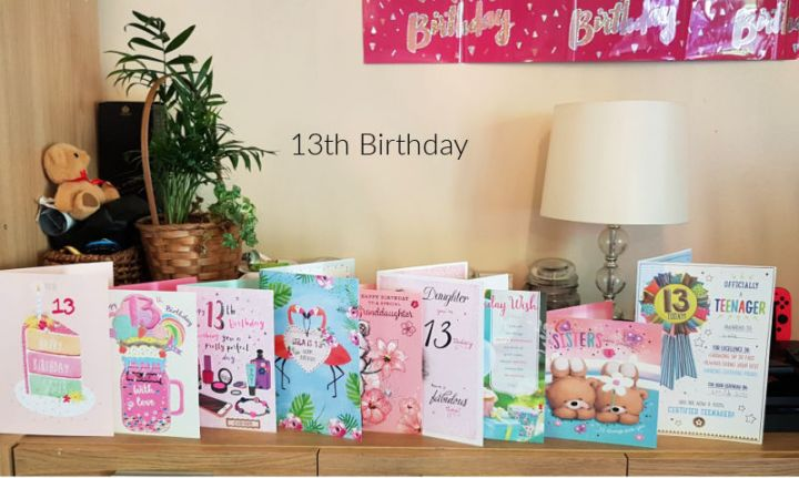 13th birthday, a row of birthday cards