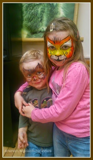 more facebook memories, Boo and the Little Man facepainted as animals