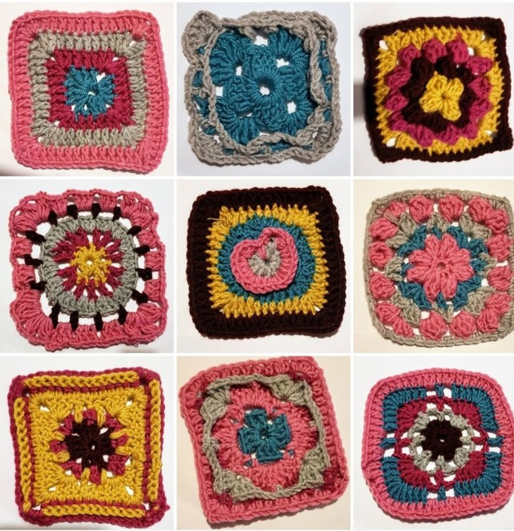 Image shows a grid of crochet granny squares of different patterns and colours.