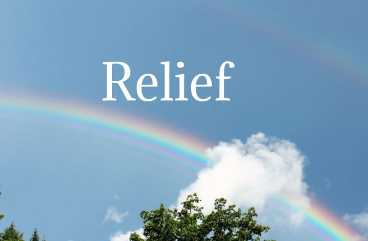 relief, a picture of a rainbow in a blue sky and the word relief in white letters