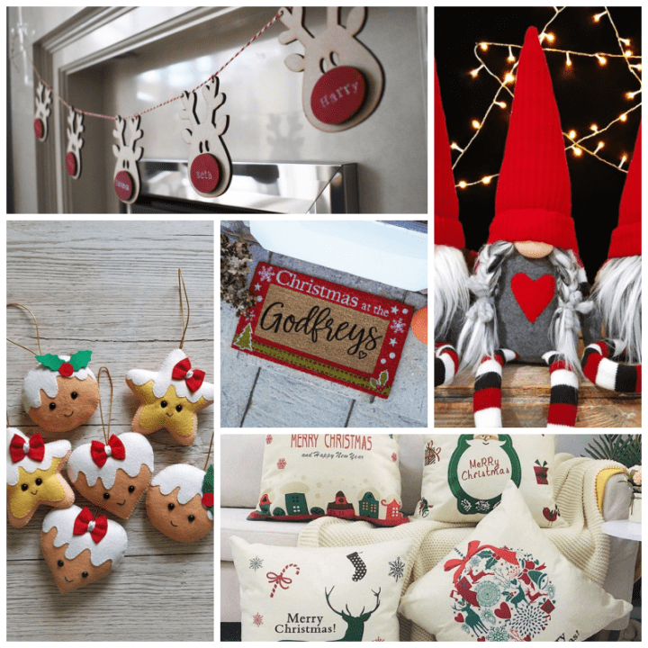 Christmas decorations including personalised reindeer, a door mat,a set of Scandinavian Gnomes, Cushion covers