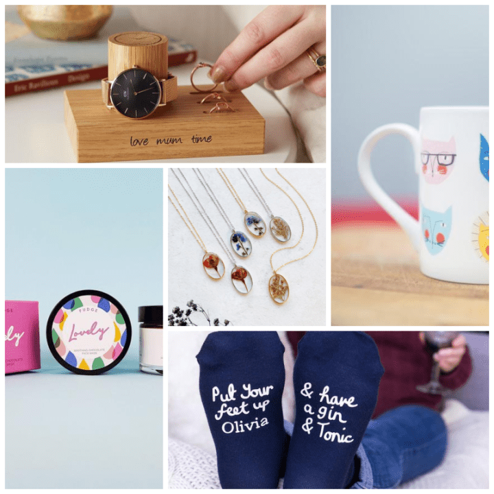 Etsy Christmas Gifts for her, jewellery stand, face mask, flower necklace, cat mug and gin socks