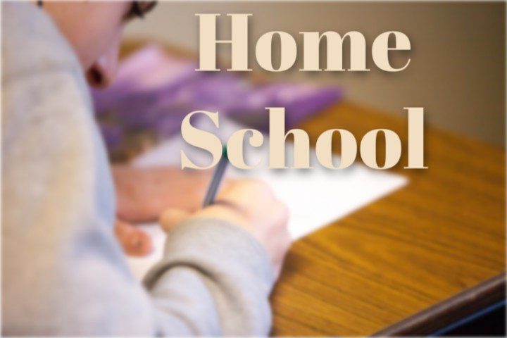 Home School, photo with words and child learning in the background.
