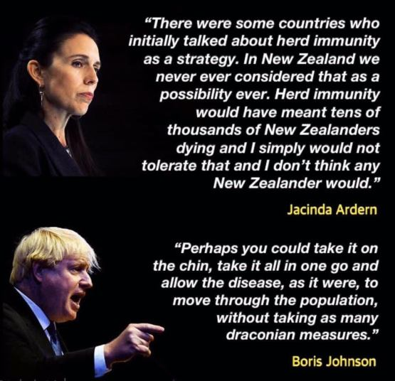 speeches made by Jacinda Adern and Boris Johnson at the beginning of the pandemic.