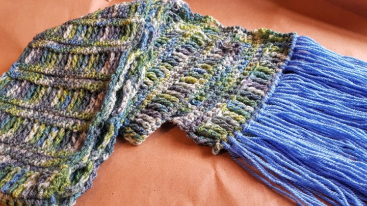 Blue/multi coloured scarf with blue tassells.