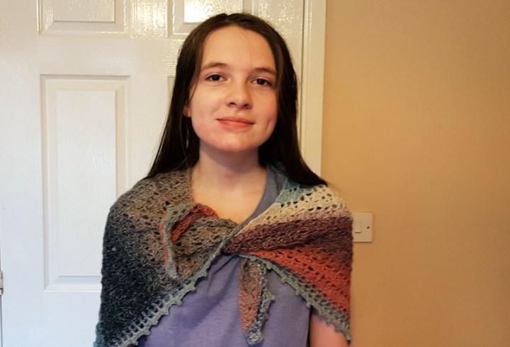 Boo modelling my crochet shawl