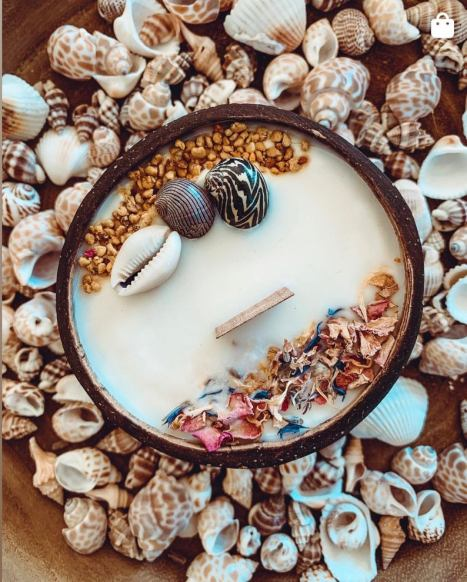 coconut candle with shells