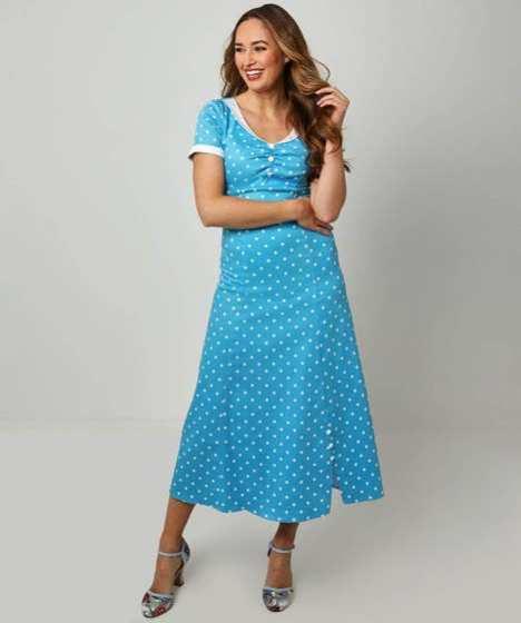 Joe brown's blue spot vintage style dress