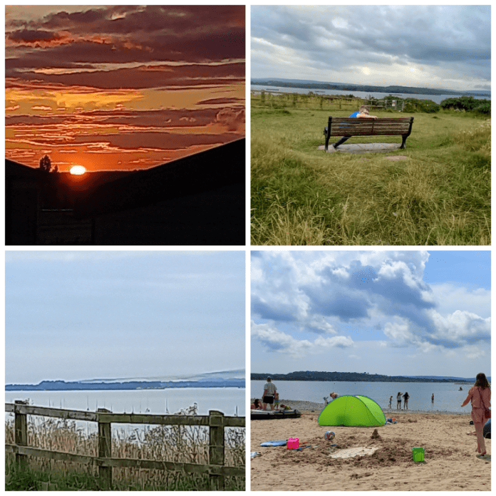 Rockley Park holiday camp collage, top right, sunset, top left field looking over lake, bottom right, lake, bottom left beach and lake.